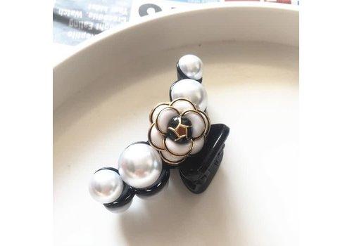 Peach Accessories HA167 Black/Pearl Rose Hair Claw