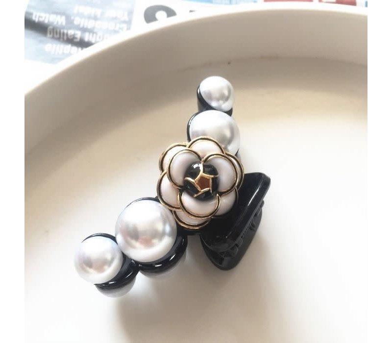 HA167 Black/Pearl Rose Hair Claw