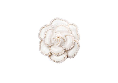 Peach Accessories Cream Pearl Rose Brooch