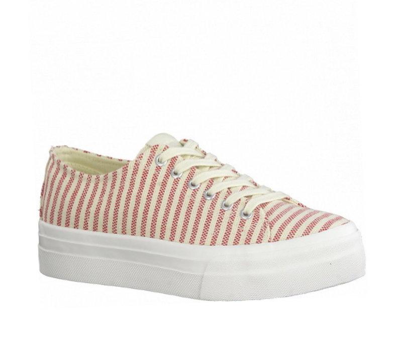 Tamaris 23786 Red Stripe Canvas Sneakers