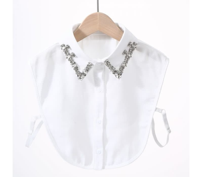7714 White Diamonte Collar