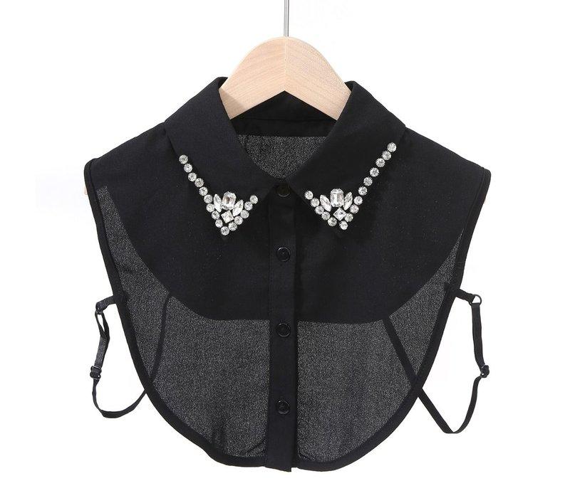 7717 Black V Diamonté decorative Collar