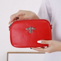 8801 Crystal Bee Red leather Pouch