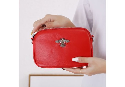 Peach Accessories 8801 Crystal Bee Red leather Pouch