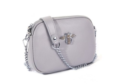Peach Accessories 8801 Crystal Bee Grey Leather Pouch