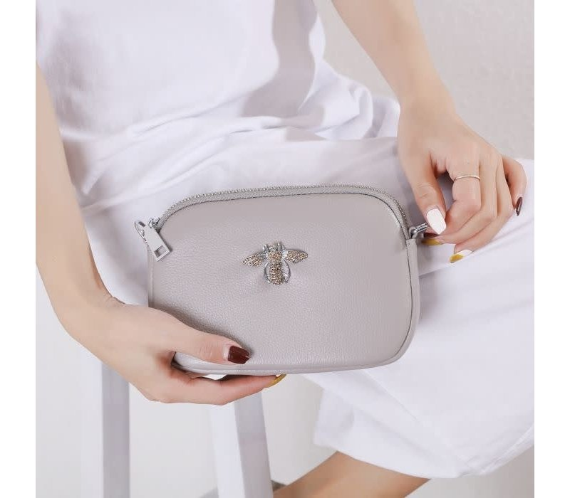 8801 Crystal Bee Grey Leather Pouch