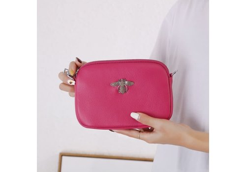 Peach Accessories 8801 Crystal Bee Fuchsia Leather Pouch