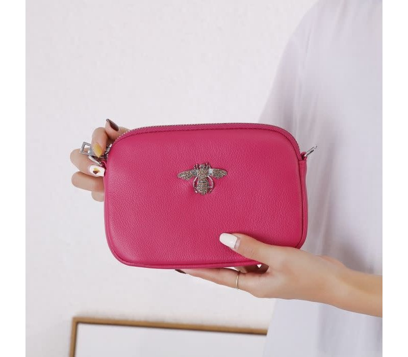8801 Crystal Bee Fuchsia Leather Pouch