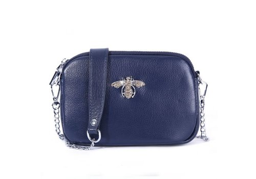 Peach Accessories 8801 Crystal Bee Navy Leather Pouch