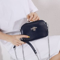 8801 Crystal Bee Navy Leather Pouch