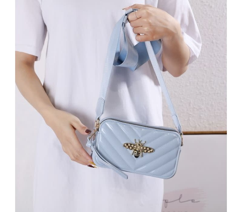 9021  Bee Bag in Blue Patent