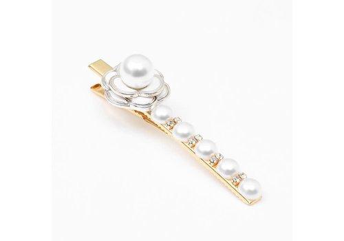 Peach Accessories HA197 Cream Pearl/Rose Hair Clip