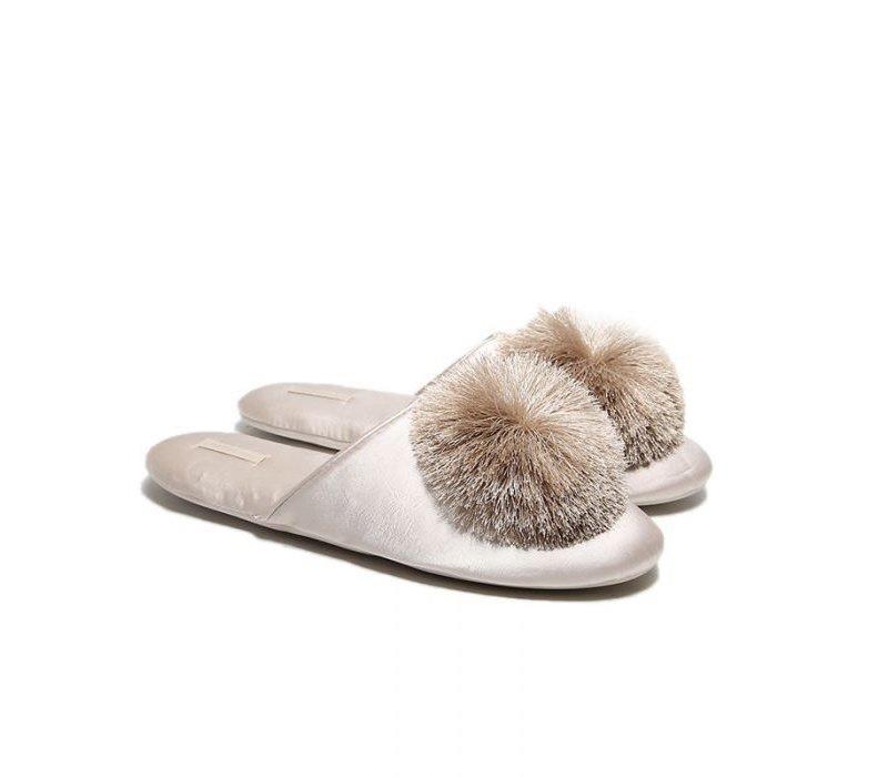 1929 Nude velvet Pom Slippers