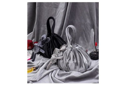 Peach Accessories Grey Lazy Drawstring Make-up Bag