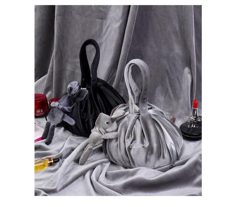 Grey Lazy Drawstring Make-up Bag