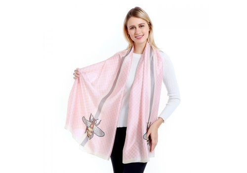 Peach Accessories TT34 Pink Bee style Scarf