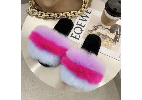 Peach Accessories 1924 Rainbow furry slippers