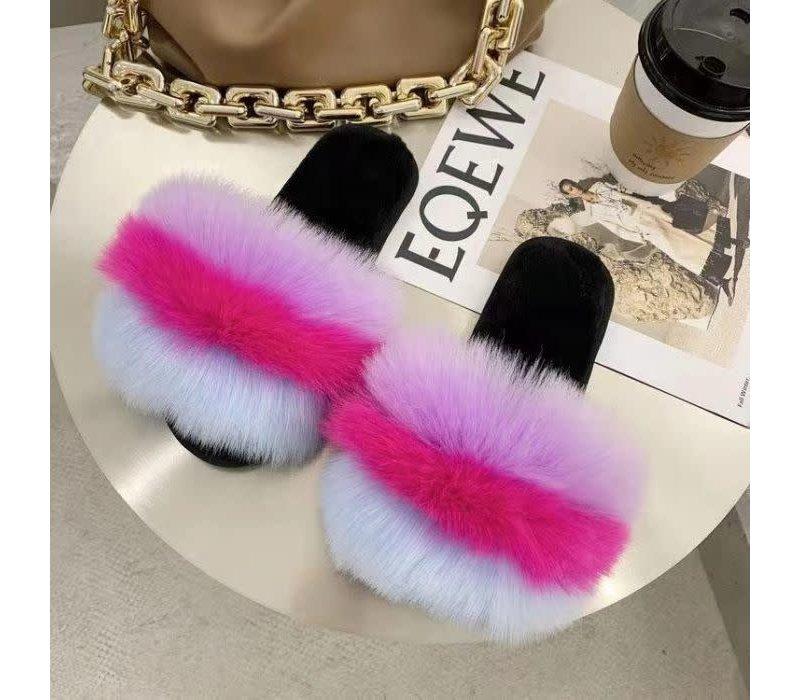 1924 Rainbow furry slippers
