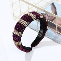 HACH607 Large jewelled headband Purple mix