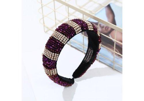 Peach Accessories HACH607 Large jewelled headband Purple mix
