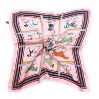 F658 Pink Horse Print Square Scarf