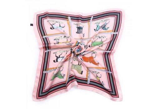 Peach Accessories F658 Pink Horse Print Square Scarf