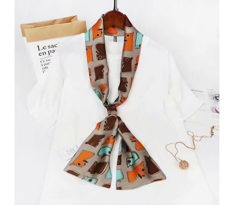 F680 Silky neck scarf Tan/Orange