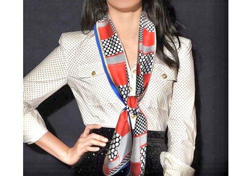 Peach Accessories F683 Royal/Orange silky neck scarf