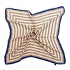 Peach Accessories F667 Beige with Navy stripes square Scarf