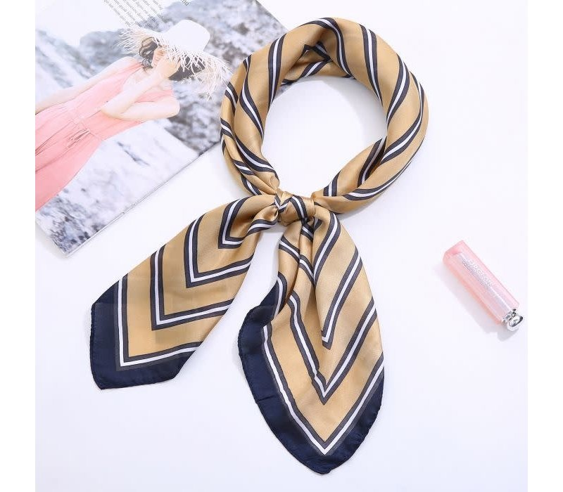 F667 Beige with Navy stripes square Scarf