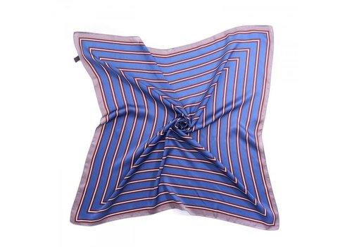 Peach Accessories F667 Blue/Wine stripes square Scarf