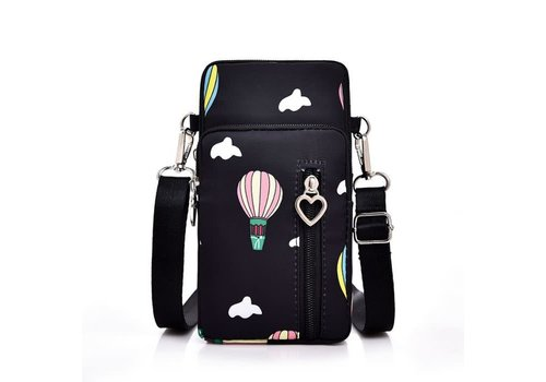 Peach Accessories PP04 Black X-body Bag with Balloons