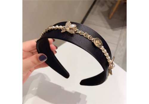 Peach Accessories HACH703 Black Delicate bee Hairband