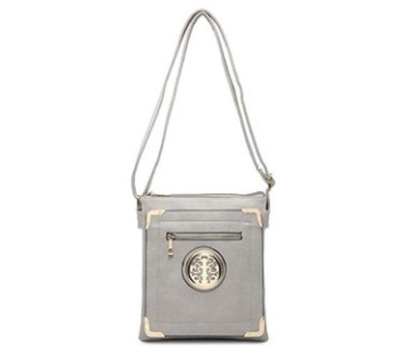 34470 Grey Emblem Cross body Bag