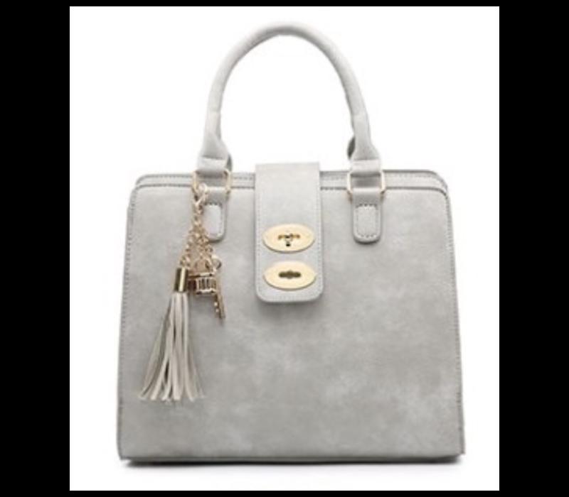 34991 Grey 3 pocket Handbag