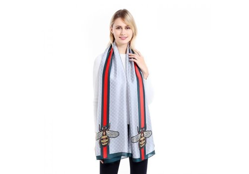 Peach Accessories TT34 Grey Silky Scarf with Bee