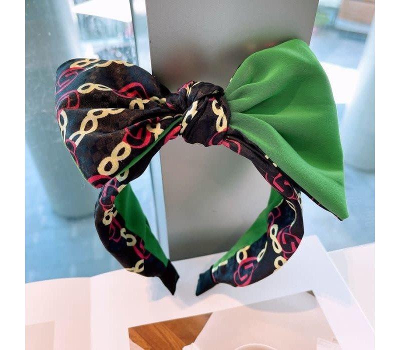HA726 Green multi Hairband with Bow