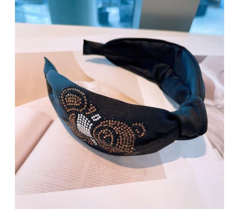 HA717 Black Hairband with Diamonte Bear