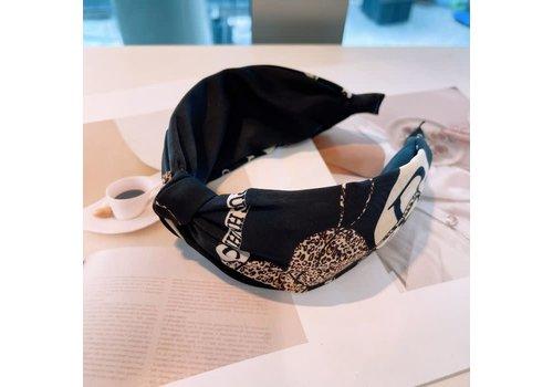 Peach Accessories HA710 Black multi  knotted Hairband