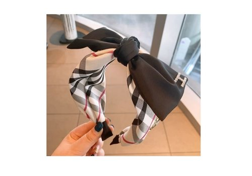 Peach Accessories HA708 Black Tartan large Bow Hairband