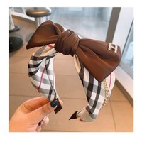 HA708 Brown Tartan large Bow Hairband