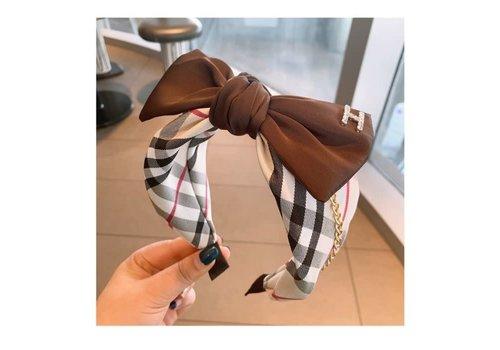 Peach Accessories HA708 Brown Tartan large Bow Hairband