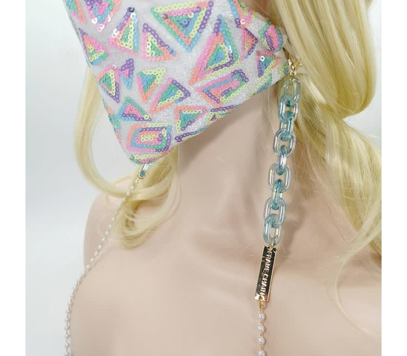 2141 Blue Marble  Glasses/Mask Chain