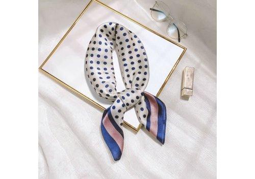 Peach Accessories F659 Navy Polka Dots W/Pink scarf