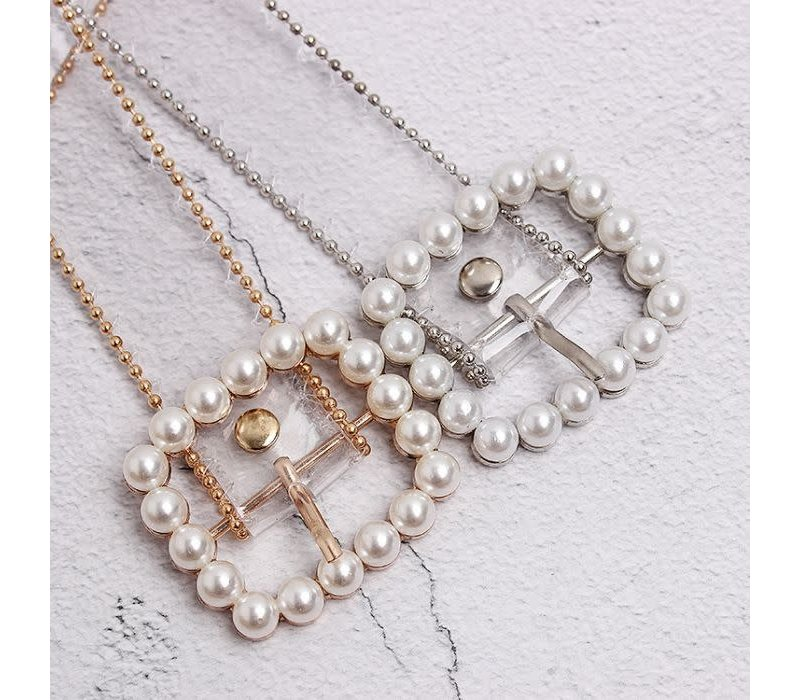 BEL030 Clear Silver Pearl Belt