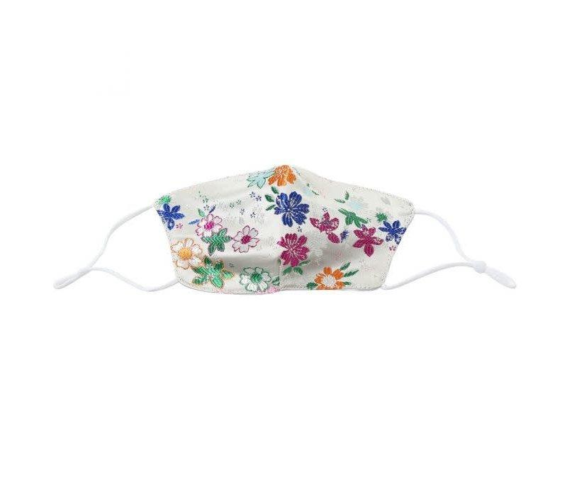 0015 White Silk/Cotton Flower Mask