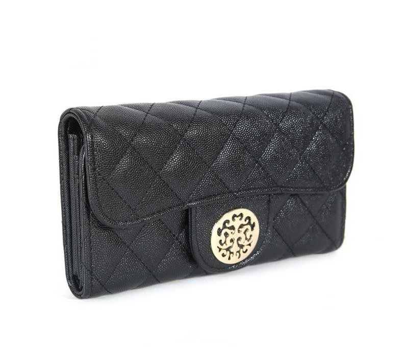 568 Tree of Life Quilted Purse Black