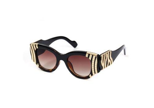 Peach Accessories Y8179 Tortoiseshell Gold Stripe Sunglasses
