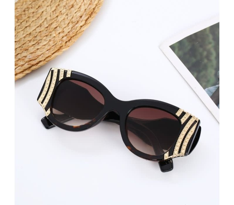 Y8179 Tortoiseshell Gold Stripe Sunglasses