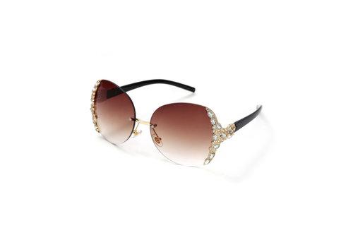 Peach Accessories 1234 Brown Diamonte Sunglasses